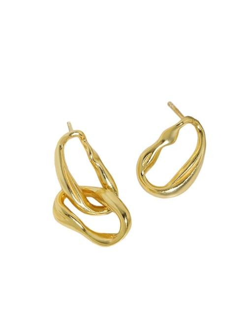 18K gold [with pure Tremella plug] 925 Sterling Silver Geometric Minimalist Drop Earring